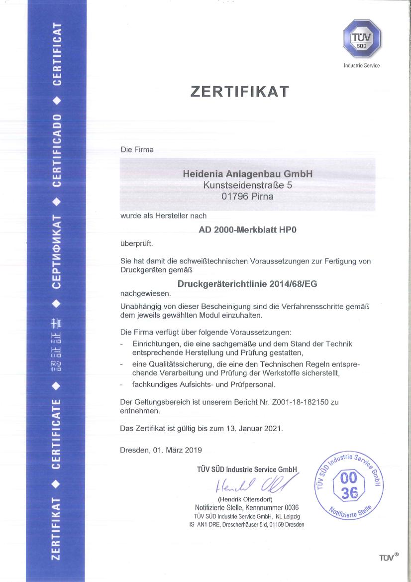 AD 2000 Merkblatt HP0